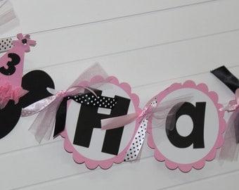 Minnie Mouse Birthday Banner - LIGHT Pink Black