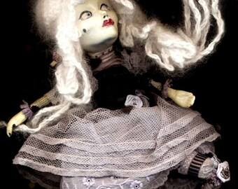 Carte Blanche Valentine Vixen doll...WiLLemeTTe...OOAK handmade kiln fired ceramic clay & kidskin art doll with haunting glass