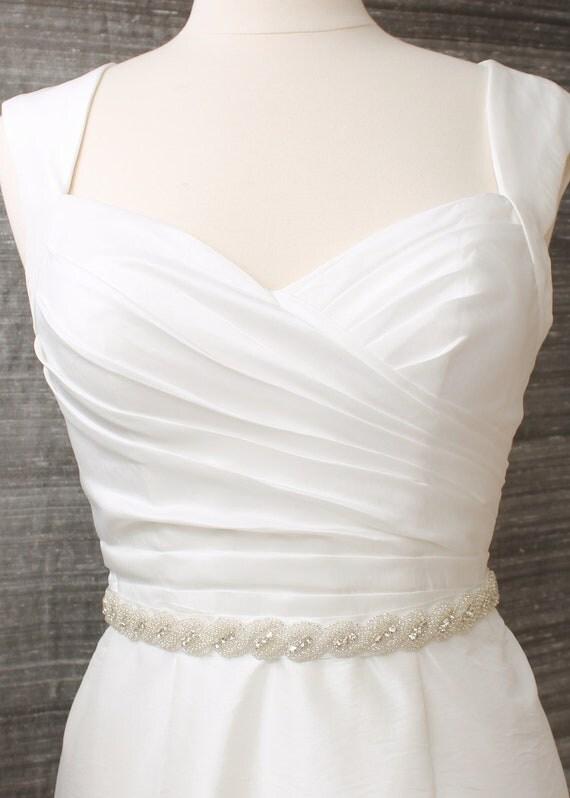 ON SALE Wedding sash, simple rhinestone braid, bridal sash, wedding belt with beading - Get 30% off listed price