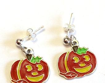 Pumpkin Enamel Charm Earrings - Fall Halloween - Jack 'O Lantern Earrings