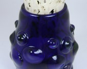 Flameworked Glass Cobalt Jar with Clear Bumps by Bashi Alé