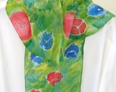 Poppy hand painted silk scarf floral red blue green yelllow  design 8x54 length