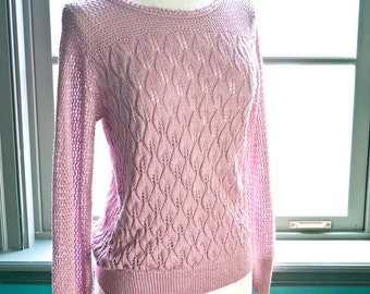 Vintage dusty rose SWEATER top... pretty OPEN KNIT
