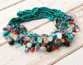 Turquoise Cluster Necklace, Chunky Multi-strand Necklace, Colorful Gemstones Statement Necklace, Glamorous Bijoux, One of a Kind Jewelry