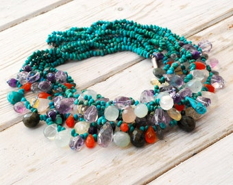 Turquoise Cluster Necklace, Chunky Multi Strand Necklace, Colorful Multi Stone Statement Necklace, Unique One of a Kind Turquoise Necklace