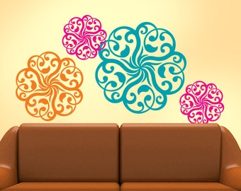 Mandala Doily Art Vinyl Wall Decals, Orange, Pink, Teal, DIY Home Decor