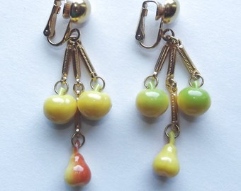 Vintage 50s FRUIT SALAD Long Dangle Clip On Earrings Pin-Up Cherry Apple Pear ROCKABILLY