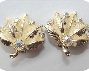 Vintage 50s Earrings | 1950s Clip On Earrings | Aurora Borealis Rhinestones | Leaf Fan Earrings | Goldtone Art-Deco