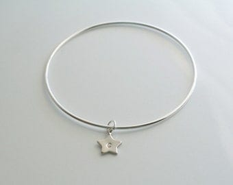 Star Initial charm, silver, personalized bangle