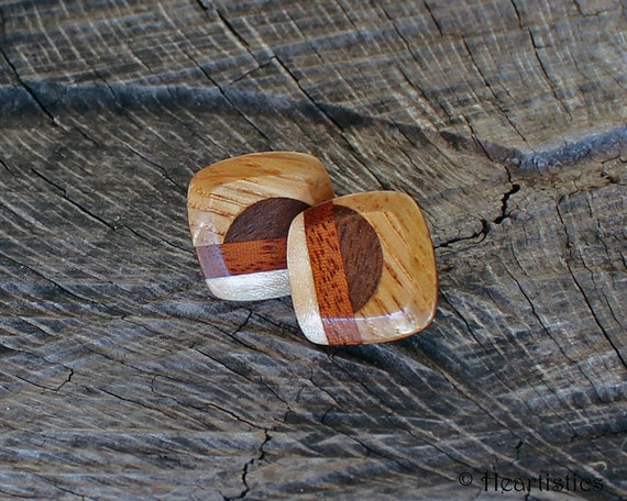 Golden Autumn Sunset Mosaic in Warm Fall Earth Tones - Eco Friendly - Wooden Inlaid Post Earrings from Reclaimed wood
