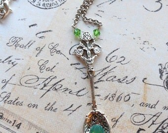 Victorian Absinthe Spoon Green Crystals Vintage inspired Pendant Necklace