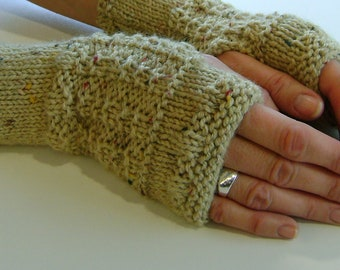 Fingerless Gloves / Mittens / Wrist Warmers in Sand Aran Wool