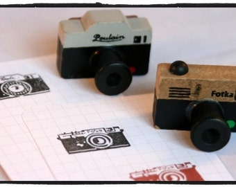 Retro Camera stamp wood mounted Rubber Stamp Poulain or Fotka
