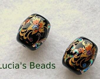 NEW Gorgeous Pair of Japanese Tensha Beads Arabesk on Black 13 x 15 MM