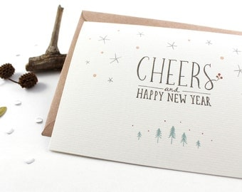 50% OFF - Holiday Cards - Cheers, Happy New Year - 10 Greeting Cards