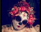 Fall Harvest Mask - Day of the Dead Bat and Heart Pumpkin Feathers Skeleton sugar Skull Bones Dia De los Muertos Calavera mask
