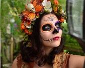 Hawkmoth Harvest Day of the Dead Crown - Dia de los muertos orange arigold mum dogwood skull butterfly flower crown headdress katrina