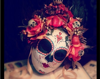 Fall Harvest Mask - Day of the Dead Bat and Heart Pumpkin Feathers Skeleton sugar Skull Bones Dia De los Muertos Calavera mask