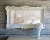 C H I C ...Shabby White Mirror Cottage Chic Beach Cottage Ornate Baroque Decor