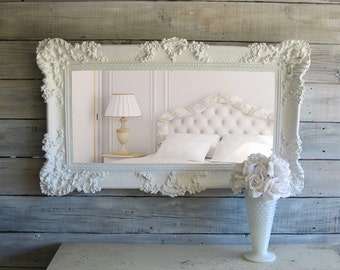 C H I C ...Shabby White Mirror Cottage Chic Beach Cottage Ornate Baroque Decor