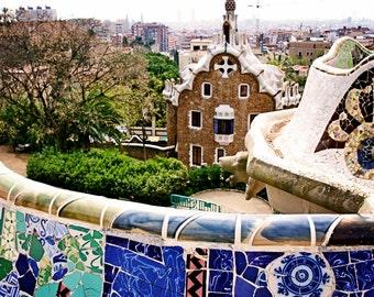 Barcelona Photography - Parc Guell - Spain Photography - Spanish Decor Mediterranean Photo Cobalt Blue Travel Art Architecture Print