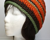 Crochet Hat Beanie Women Teenager - Handmade - Acrylic Yarn - Fall Autumn Colors - Orange Brown Olive  - One Size Fits All