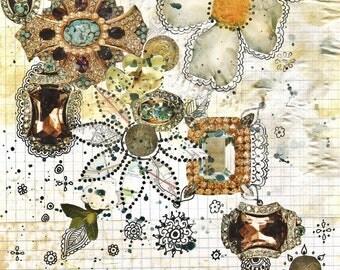 mixed media original, bohemian art, original collage, small original, paper collage, mixed media art, white, henna, boho decor