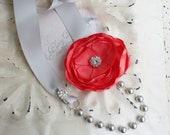 Coral Silver Grey Pearl Crystal Ribbon Necklace - Bridal Bridesmaids - Wedding Gift - Many Colors