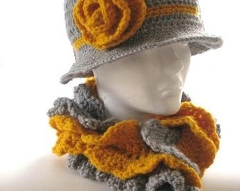 Ruffled Cowl and  Brimmed Hat (pdf pattern)-Item 15