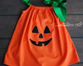 Pumpkin Dress Pillow Case Dress Halloween Dress Orange Girls Toddler Dress Jack O Lantern Pillowcase Dress Pumpkin Costume