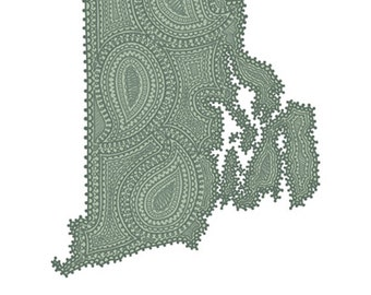 "Rhode Island State Green Paisley Print - 8""x10"" Fine Art Print on Watercolor Paper"