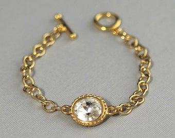 Swarovski Crystal Birthstone Bracelet, Gold Mom's Bracelet, Birthstone Jewelry, Rhinestone Bracelet