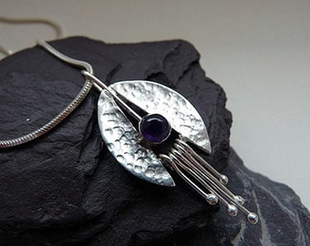 Sterling silver pendant with amethyst. Sterling silver necklace with amethyst. Silver jewellery. Handmade. MADE TO ORDER.