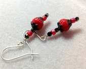 Chocolate Dipped Strawberry Dangle Earrings - Sterling Silver earwires -  Pink, Red, Brown - Kid's - children - valentine's day