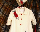 Infant coat. Gorgeous ivory fleece with beautiful, rich red roses