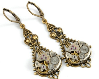 Steampunk Earrings Steam Punk Watch Earrings Antique Brass Drop Dangle Earrings Steampunk Wedding Steampunk Jewelry by Victorian Curiosities
