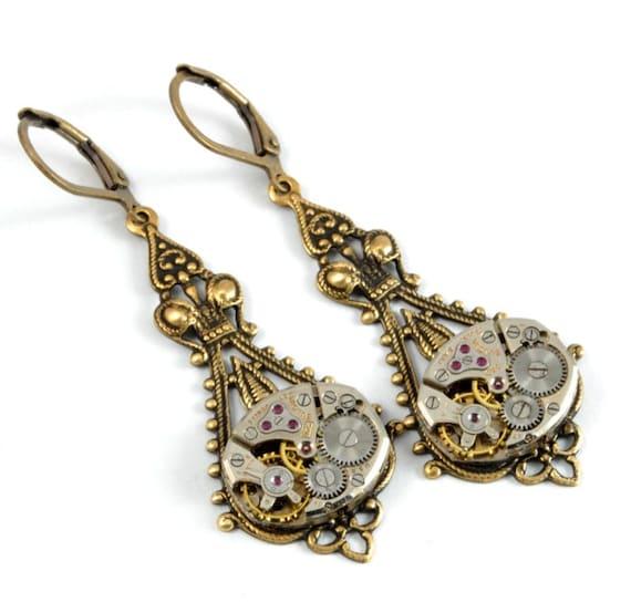 Steampunk Earrings Steam Punk Watch Earrings Drop Dangle Earrings Antique Brass Steampunk Wedding Steampunk Jewelry by Victorian Curiosities