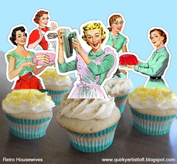 Retro Housewife Bridal Shower DIY Cupcake Toppers