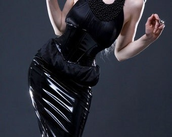 "M PVC angled Corset belt 25"" for 28-30"" waist Black patent from Artifice Clothing with steel boning (sample ready to ship)"