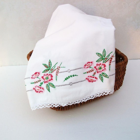Embroidered Pillowcases, Pink Red,  Vintage Bedding, Floral Pillow Covers, Boudoir Decor / Bed and Breakfast