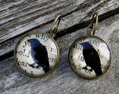 Raven Earrings, Crow Earrings,  Raven Nevermore  Earrings, Halloween Raven Bird, Black Bird Earrings, Raven Bird Jewelry