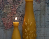 "Beeswax Candle Set - antique bottle shaped - ""TWO LIME JUICE"" w/ flowers - by Pollen Arts - Md & Sm."