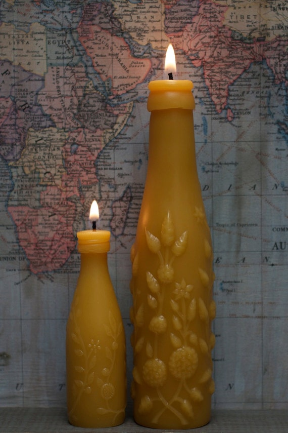 """Beeswax Candle Set - antique bottle shaped - """"TWO LIME JUICE"""" w/ flowers - by Pollen Arts - Md & Sm."""