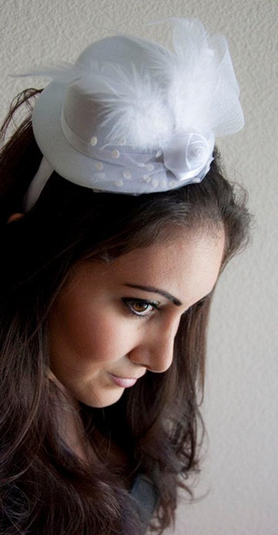 White Mini Top Hat - White Bridal Mini Top Hat Headband w Netting and Feather Embellishments