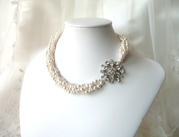 Vintage Inspired Pearl Bridal Statement Necklace, Asymmetrical Pendant, Multi Strand, Spiral Woven Necklace, Bridal Wedding Jewelry