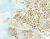 Oakland CA 12x16  watercolor map Large giclee map decor print