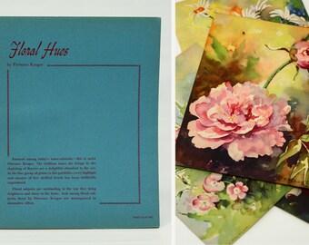 4 Vintage Daisy & Peony Wall Art Floral Prints | Set of 4 Flowers Prints Paintings by Florence Kroger | Donald Art Co Cincinatti Ohio | SALE