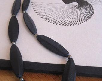 Necklace, long black necklace, iron stone, pyrite, onyx, marquise