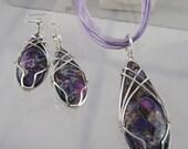 Multi-Tonal Purple Sea Sediment Jasper Necklace & Earring Set