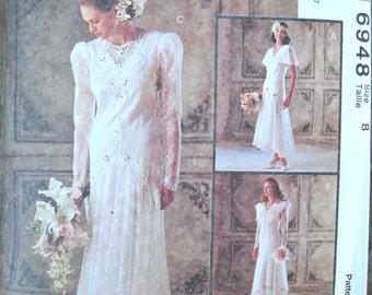 McCall's 6948, Wedding Dress Pattern, Size 8